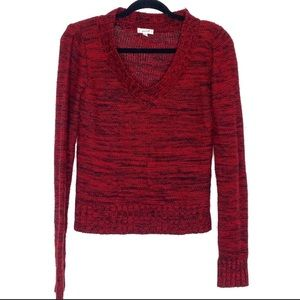 Grane red and black cable knit v-neck sweater